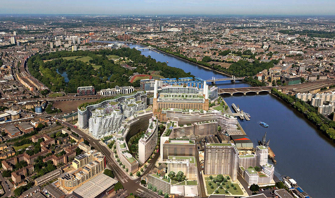 Aerial view of the Battersea Power Station Development